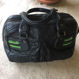 LAMB Satchel Black Leather w/ Neon Green Accent